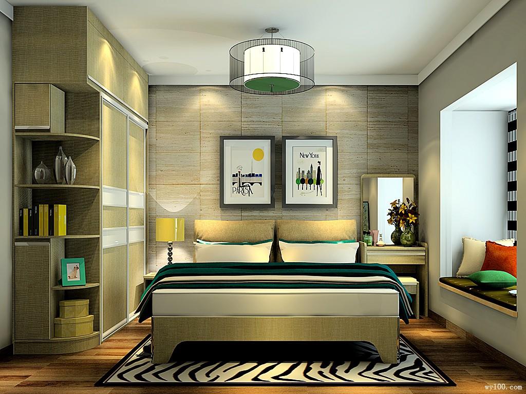 木纹带飘窗卧房 12�O打造安然雅致睡眠空间_维意定制家具商城