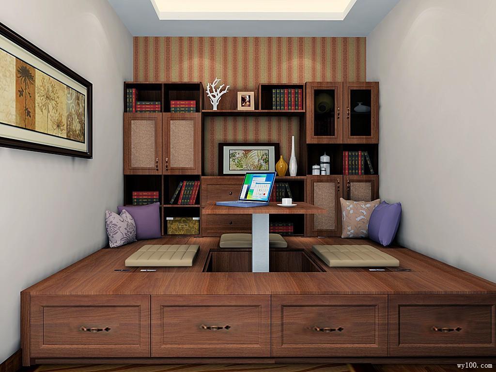 中式书房 从色调到材质营造浓浓书香气_维意定制家具商城