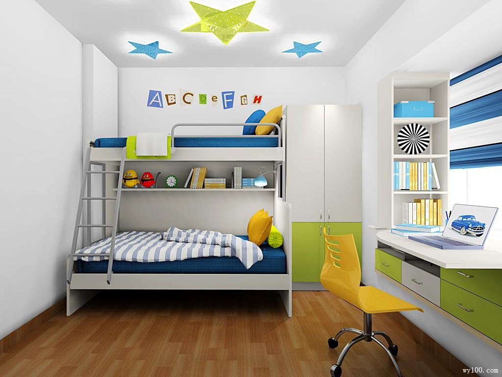 飘窗儿童房效果图 8平简约组合_维意定制家具商城