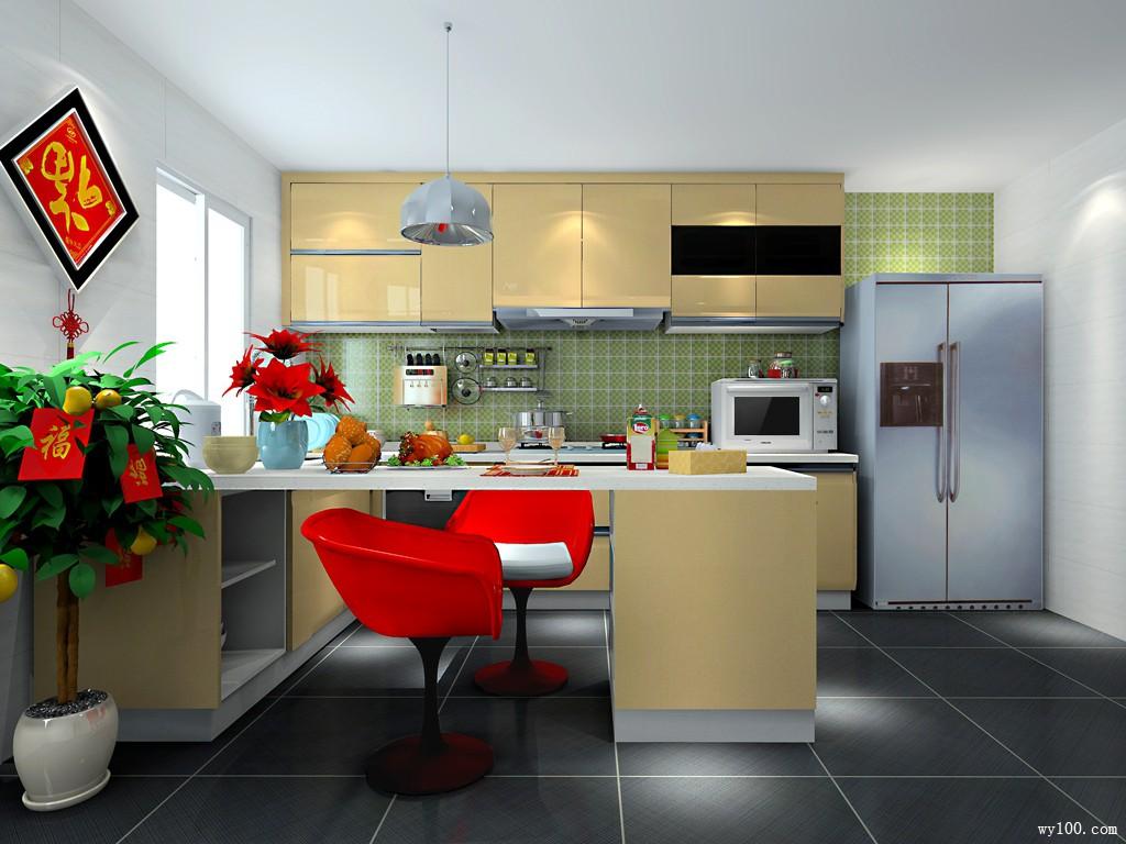U型厨房效果图 20�O发挥极致韵律_维意定制家具商城