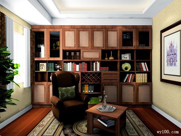 欧式吊柜书房装修效果图