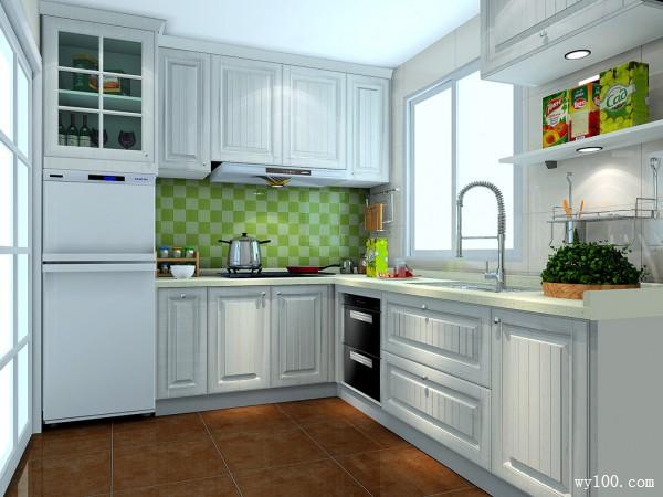 田园L型厨房装修效果图