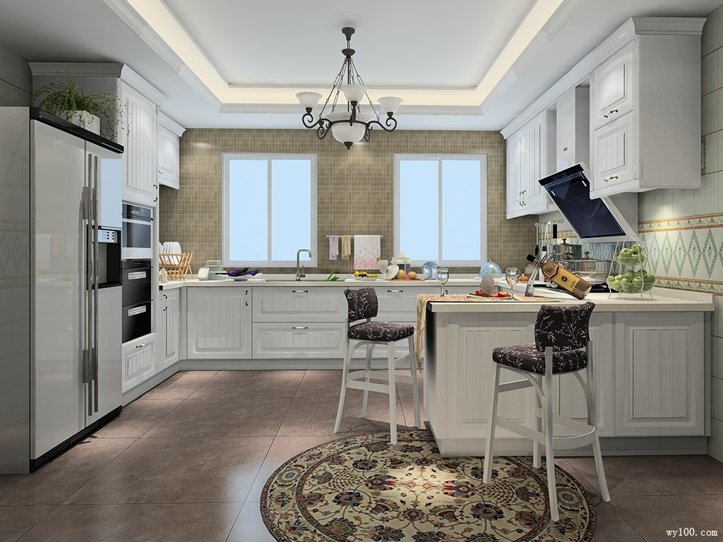 高贵L型厨房效果图_维意定制家具商城
