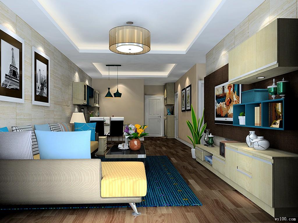 客餐厅装修效果图 44�O简约大气且实用性高_维意定制家具商城