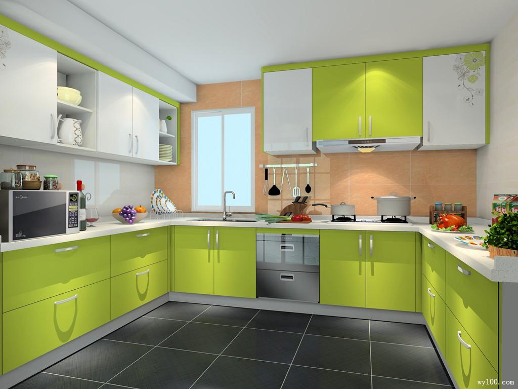 U型厨房效果图 8平带水槽转角位_维意定制家具商城