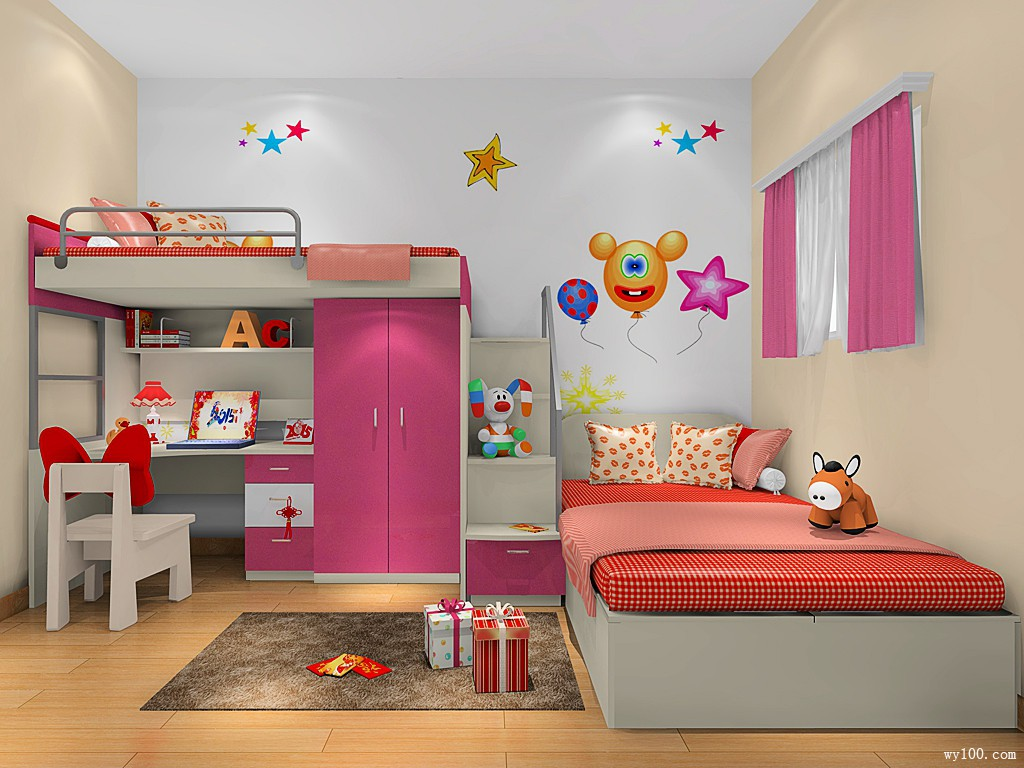 小女孩儿童房效果图 8平公主般的城堡_维意定制家具商城
