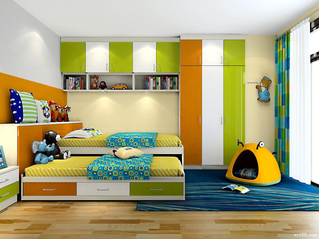 一床两用儿童房效果图_维意定制家具商城