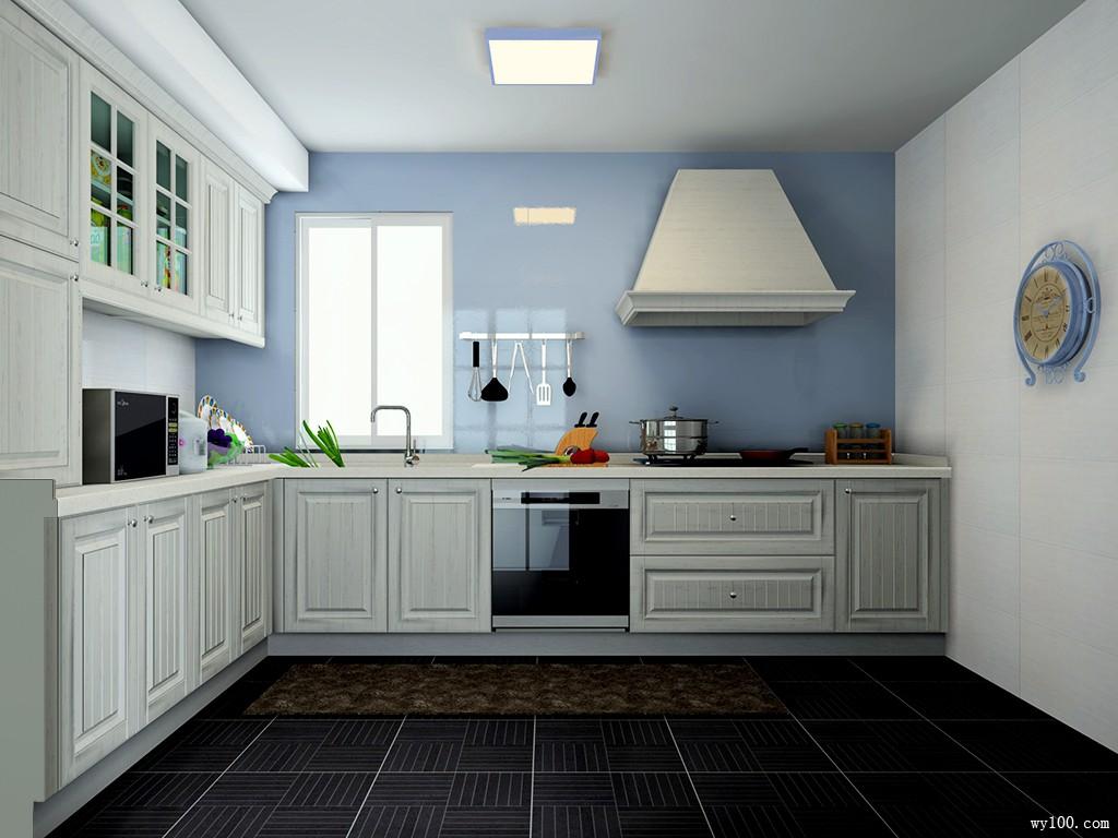 L型厨房效果图 7�O淡淡的蓝色彰显柜体时尚_维意定制家具商城