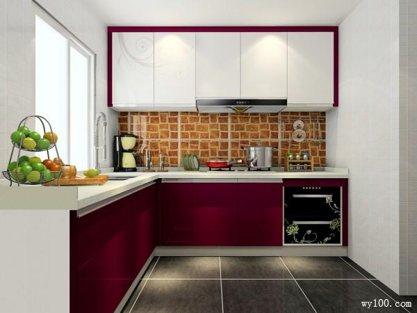 复古L型厨房装修效果图