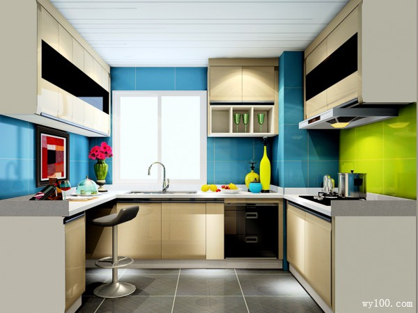 简约U型厨房装修效果图