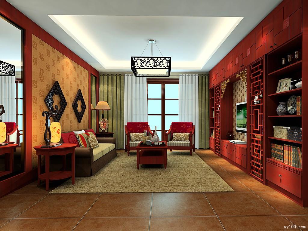 中式客餐厅效果图 精致古典的吊灯灯饰图片