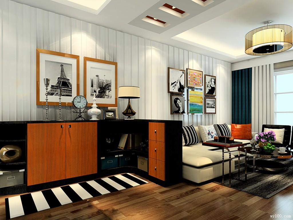24平黑杰克风格客餐厅_维意定制家具商城