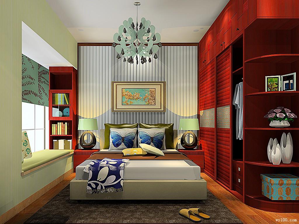 新中式卧室效果图 18�O主义品质_维意定制家具商城