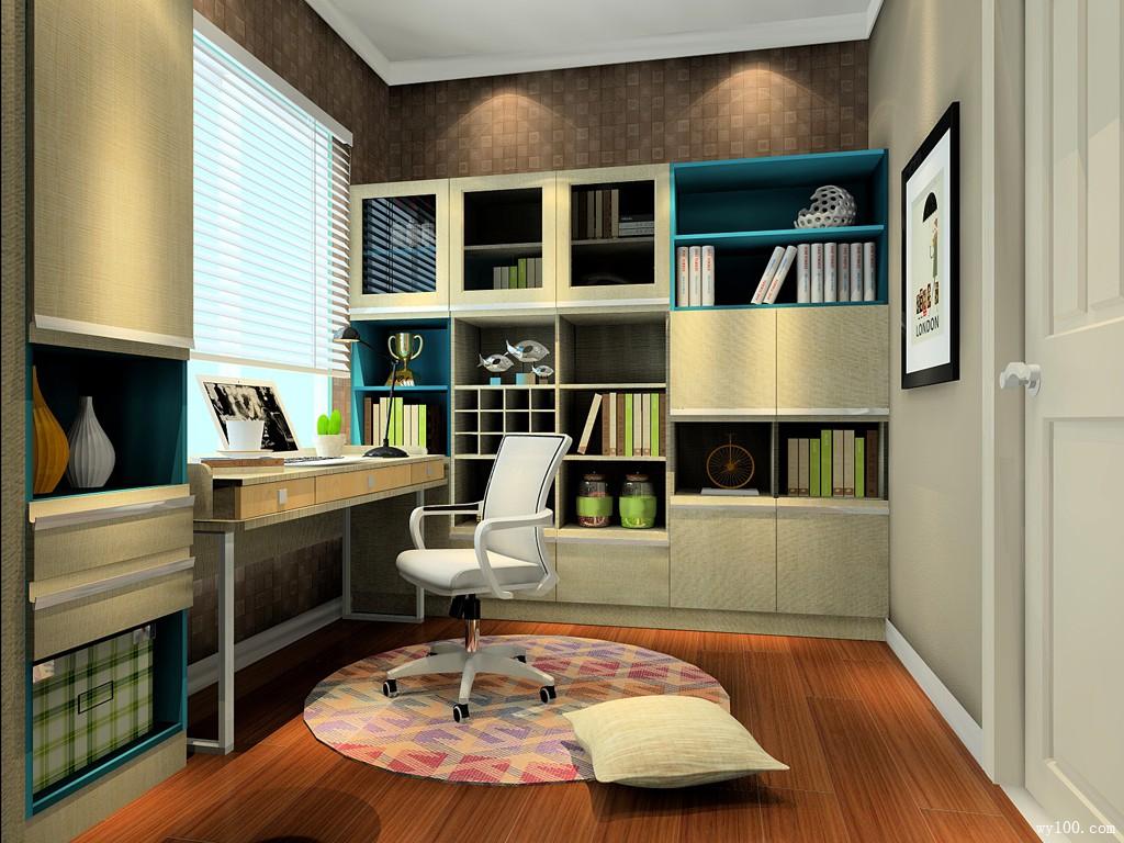 收纳书房效果图 文艺青年最爱的6平书房_维意定制家具商城