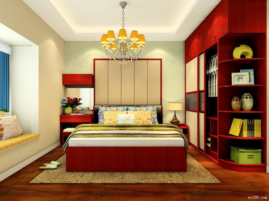 中式卧室效果图 12�O玫瑰浪漫满屋的新婚房_维意定制家具商城