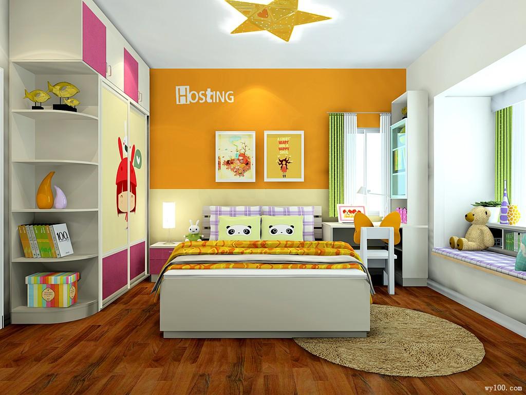儿童房效果图 1�O橙子果酱味香气洋溢_维意定制家具商城