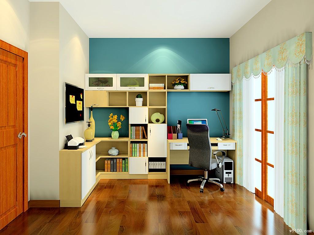 素雅书房效果图 8�O贴心设计为工作助力_维意定制家具商城