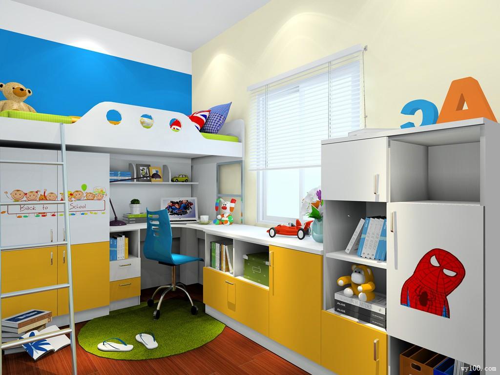 小户型儿童房效果图 6�O书桌书柜玩合体_维意定制家具商城