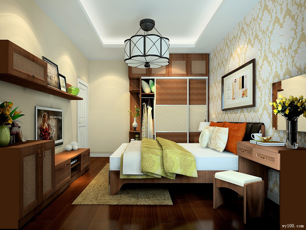 时尚飘窗卧室 13�O打造英伦风格_维意定制家具商城