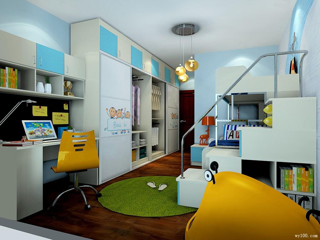 儿童房装修效果图 19�O色调蓝黄白色搭配_维意定制家具商城
