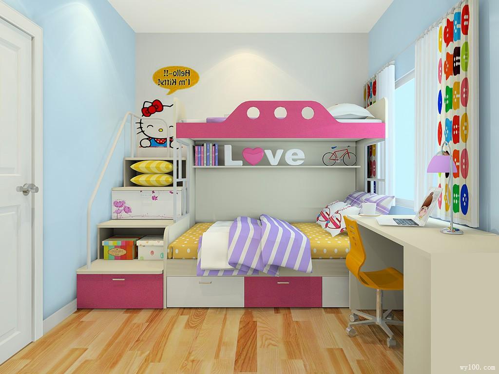 粉色主色调儿童房设计效果图_维意定制家具商城