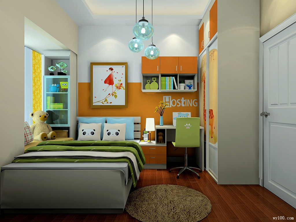 儿童房装修效果图 6�O布置上床、床头柜、书桌_维意定制家具商城