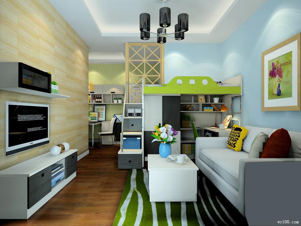 多功能客餐厅效果图 25�O给人时尚清新的感觉_维意定制家具商城