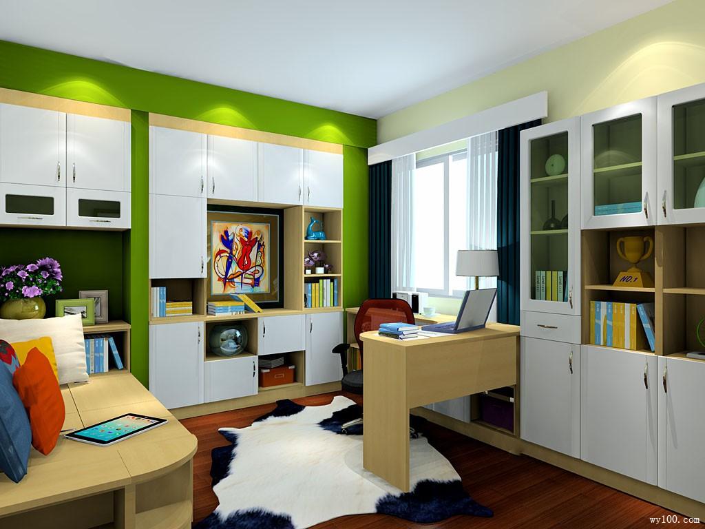 书柜榻榻米书房效果图 10�O整个空间显得人性化_维意定制家具商城