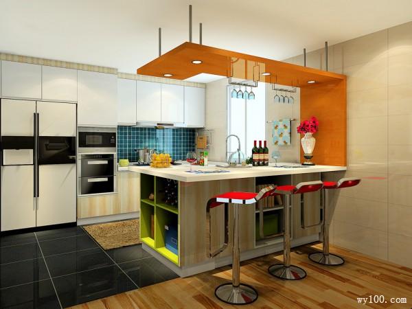 简约岛型厨房装修效果图