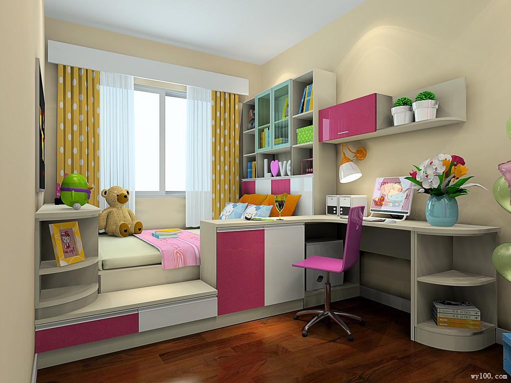 粉色女孩房效果图 12�O温馨设计为孩子学业减压_维意定制家具商城