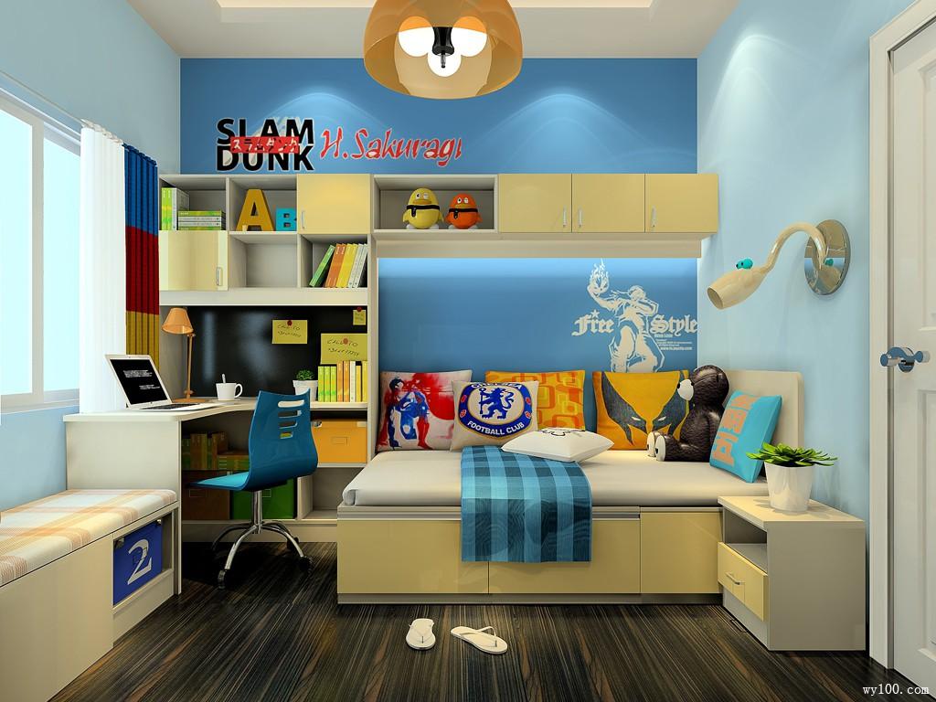 榻榻米儿童房效果图 8�O自带转角书桌书柜_维意定制家具商城