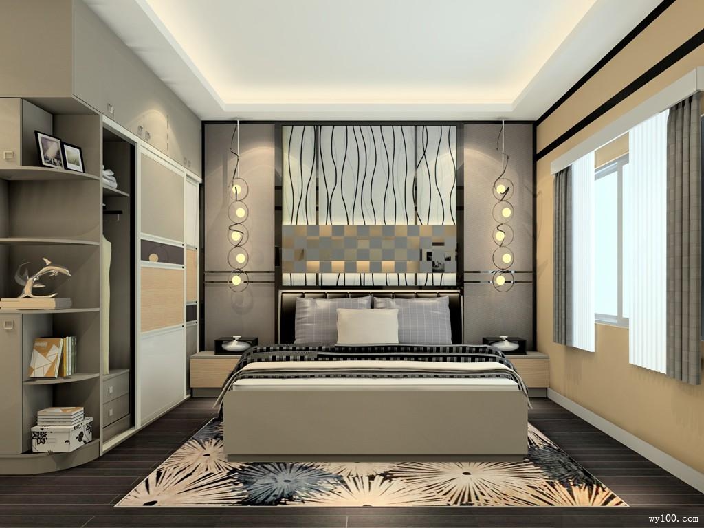 电视柜卧室效果图 17�O整体色调温馨大气_维意定制家具商城