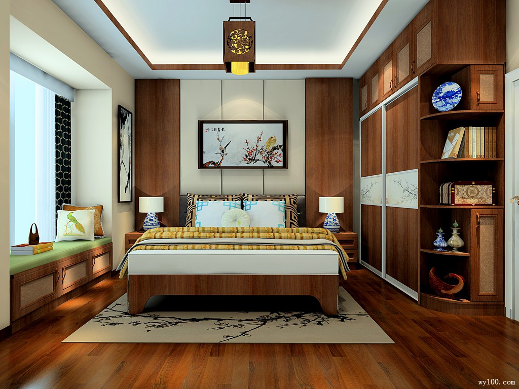 胡桃木背景墙卧室效果图