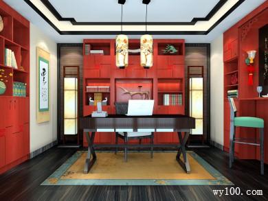 中式书房设计效果图 16�O采用中国风的风格设计 title=