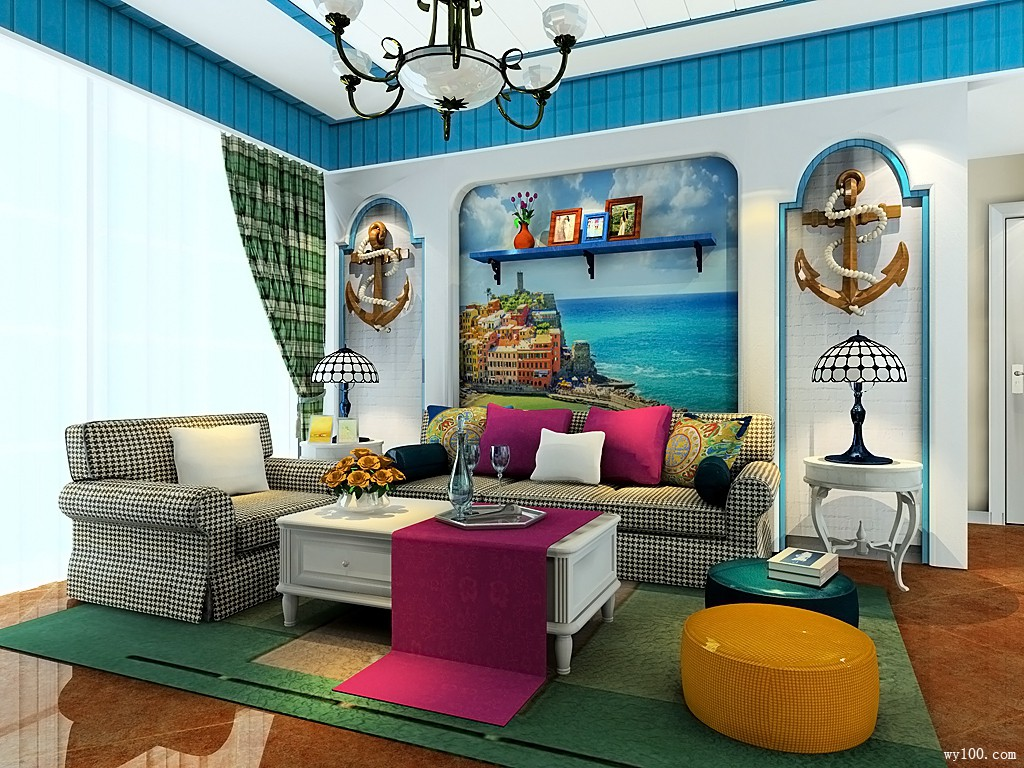 地中海风格客餐厅效果图 24�O设计风格是费城故事_维意定制家具商城