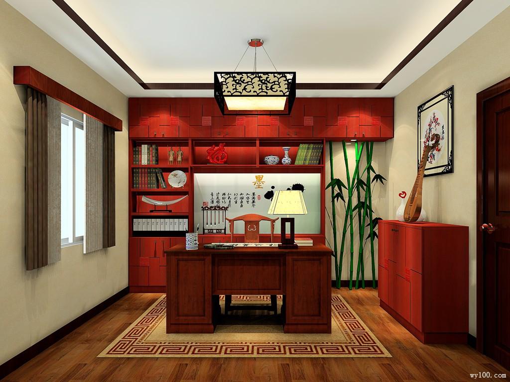 中式书房效果图 古韵书香传_维意定制家具商城