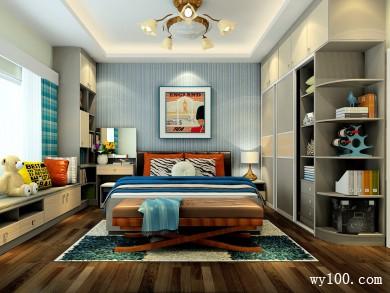 现代时尚卧室效果图 15�O也有大型的趟门衣柜 title=