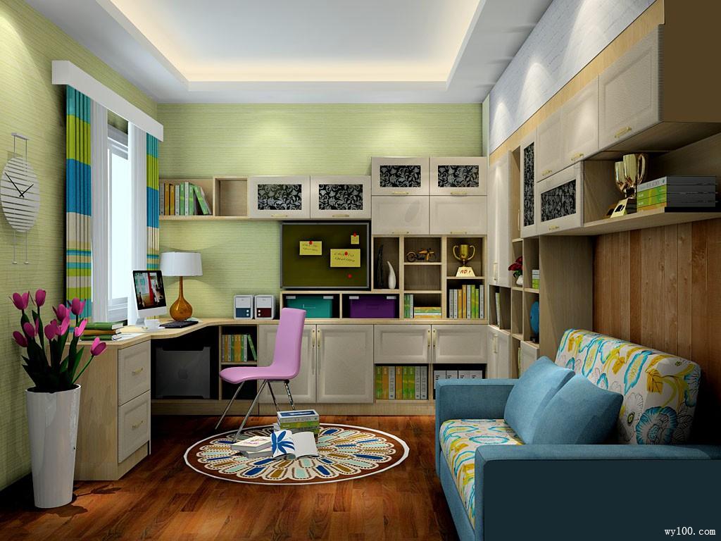 半包围式书房效果图 10�O容纳了宅配沙发的放置_维意定制家具商城