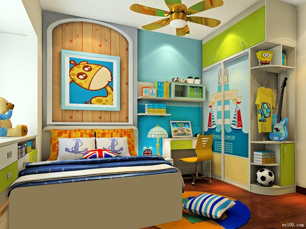 绿色衣柜儿童房效果图 9平营造出淡淡清新的感觉_维意定制家具商城