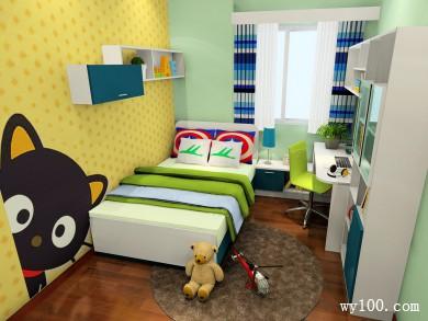 绿色儿童房效果图 9平书柜的设计满足孩子学习需求 title=