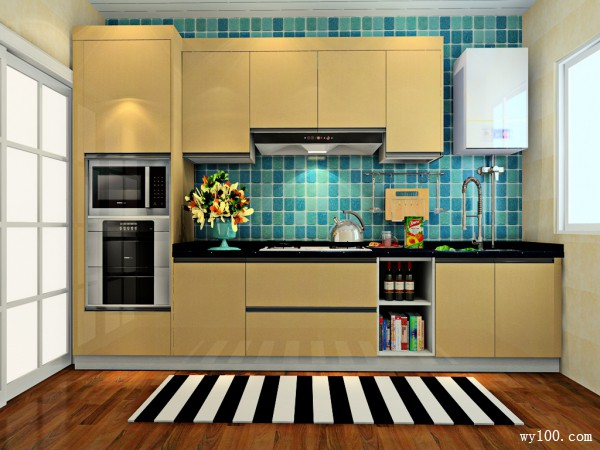简约一字型厨房装修效果图