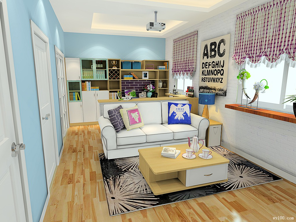 书柜组合客餐厅效果图 20平整体色调清新自然_维意定制家具商城