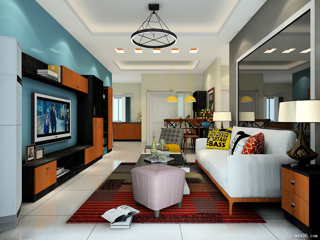 舒适储物柜客餐厅 29平展现另一种现代混搭的柔和美_维意定制家具商城