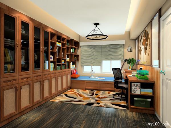复古多功能室书房装修效果图