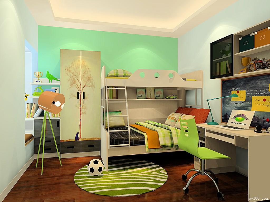 绿色系儿童房 上下床搭配给人清爽感_维意定制家具商城