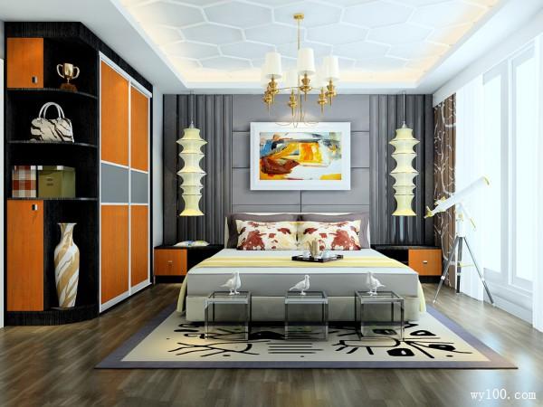 复古定制床卧室装修效果图