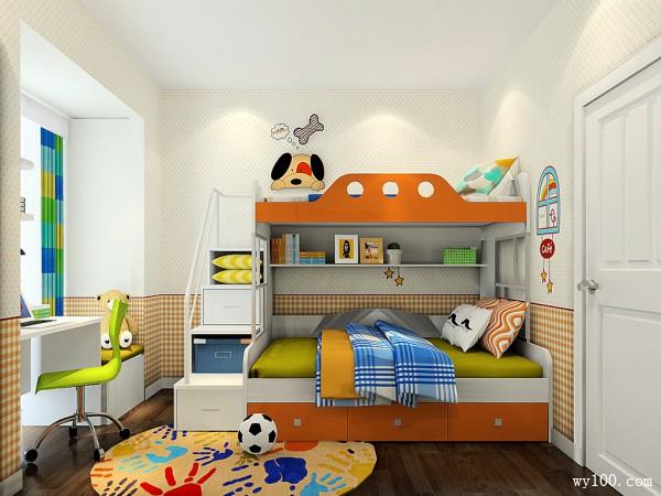 简约上下床儿童房装修效果图