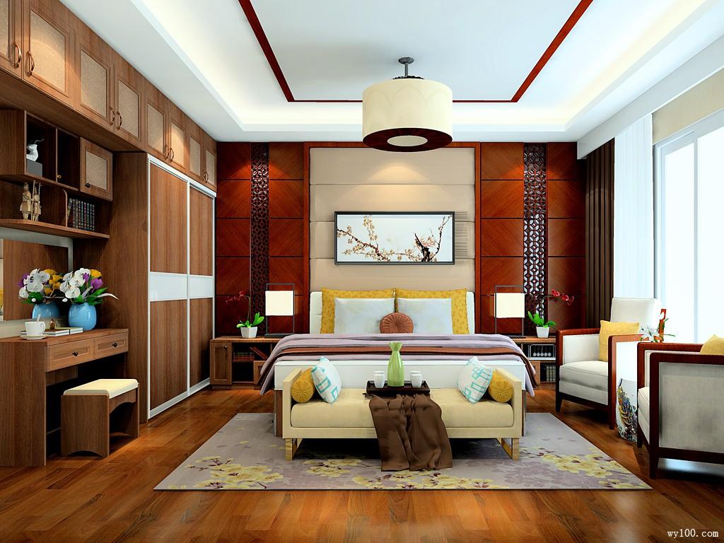 18�O中国风卧室设计效果图_维意定制家具商城