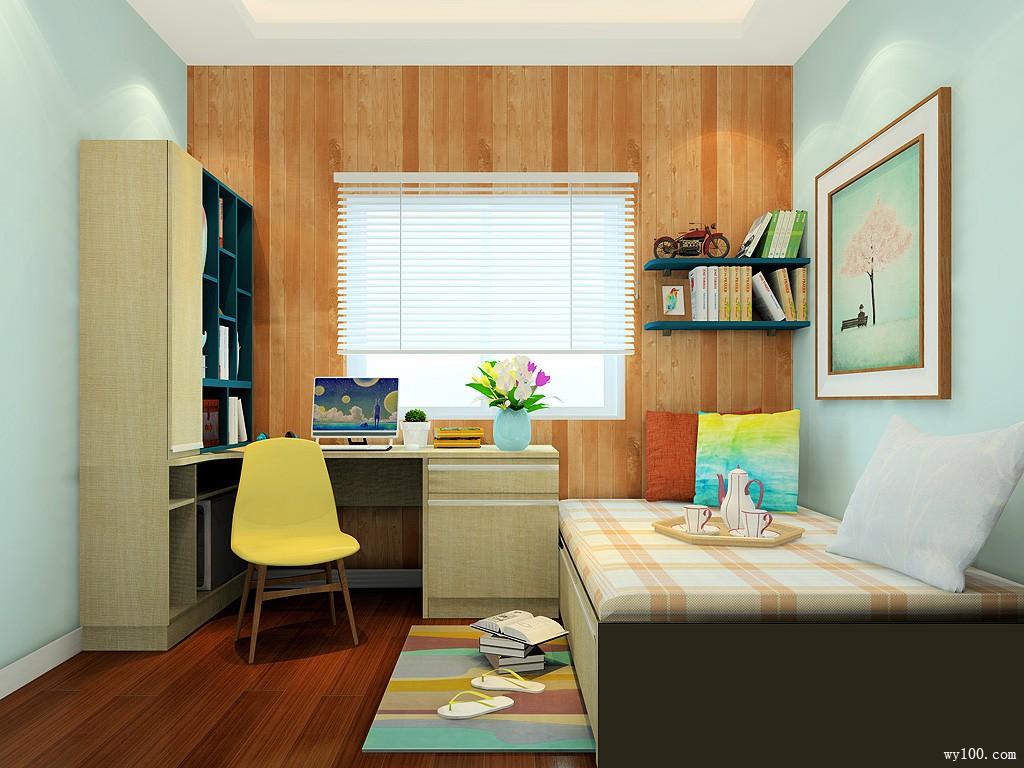 开放式书房效果图 6�O充满清新怡人的气氛_维意定制家具商城