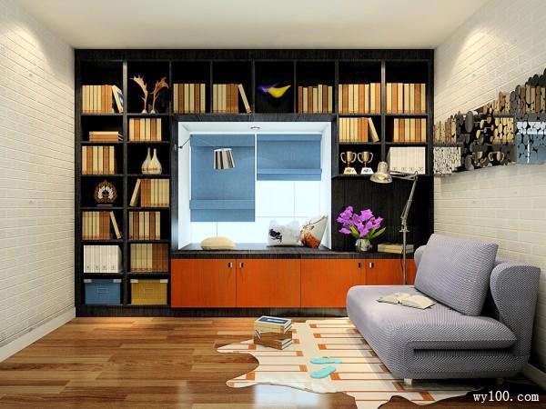 简约飘窗书房装修效果图
